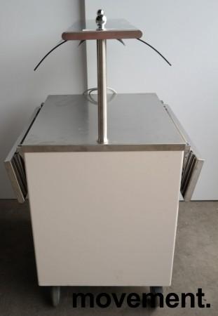 Serveringsmodul / buffet på hjul i lys beige / rustfritt stål fra Metos, 80cm bredde, med brettbane for kantinebrett, pent brukt bilde 6