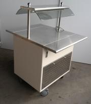 Serveringsmodul / buffet på hjul i lys beige / rustfritt stål fra Metos, 80cm bredde, med brettbane for kantinebrett, pent brukt