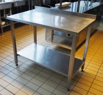 Arbeidsbenk i rustfritt stål, 110cm bredde, 65cm dybde, pent brukt
