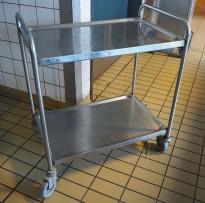 Kantinetralle / trillevogn i rustfritt stål, 82x52cm, 85cm høyde, 2 hyller, pent brukt