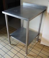 Arbeidsbenk i rustfritt stål, 60cm bredde, 65cm dybde, pent brukt