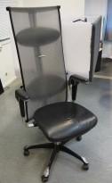Håg H09 Inspiration 9230 i sort skinn / mesh, eksklusiv kontorstol, brukt med noe slitasje