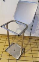 Lite søppelstativ med lokk / avfallsstativ / liten tralle i rustfritt stål for søppelsekk, pent brukt