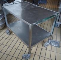 Kantinetralle / trillevogn i rustfritt stål, 90 x 60cm, 80cm høyde, 2 hyller, pent brukt