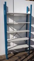 Lagerreol / stålreol i lyst grått stål / blått, høyde: 218cm, 106cm bredde, 1 fag, 31cm dybde, pent brukt