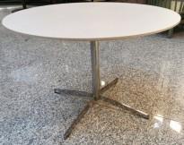 Lavt loungebord i hvitlasert ask / krom base, Ø=90cm, 60,5cm høyde, pent brukt