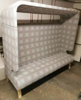 Loungesofa 3seter fra Materia med tak, Point-serie, beige/blå, 190cm bredde, pent brukt