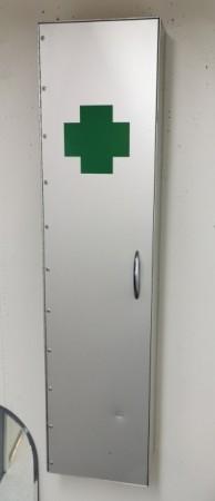 Sykebåre for beredskap i bedriften, sammenleggbar modell i vegghengt aluminiumsskap, pent brukt bilde 2