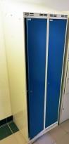 Garderobeskap fra Gerdmans i grålakkert stål / blå dører, 2 rom / 1 høyde, 60cm bredde, pent brukt