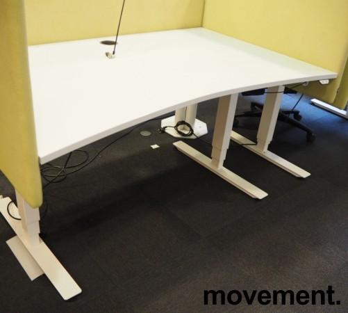 Skrivebord med elektrisk hevsenk i lys grå / hvitt fra EFG, 140x90cm, pent brukt bilde 2