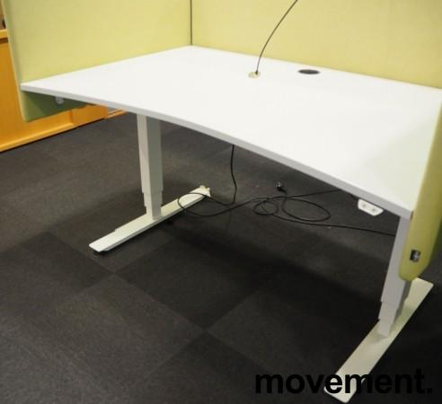Skrivebord med elektrisk hevsenk i lys grå / hvitt fra EFG, 140x90cm, pent brukt bilde 1