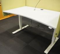 Skrivebord med elektrisk hevsenk i lys grå / hvitt fra EFG, 140x90cm, pent brukt