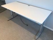 Kinnarps T-serie elektrisk hevsenk skrivebord 180x80cm i hvitt, pent brukt understell med ny plate