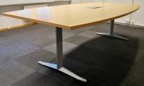 Møtebord i bøk / grått understell, 240x120cm, hel plate, passer 8-10 personer, pent brukt