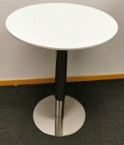 Lite, rundt loungebord / kaffebord i hvitt / krom, Ø=45cm, Høyden er 60cm, pent brukt