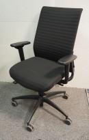 Wagner ErgoMedic 100-2 kontorstol i sort stoff, pent brukt