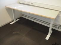 Sidebord til skrivebord 160x50cm i lys beige linoleum med forkant i tre / hvitlakkert metall fra Holmris, pent brukt