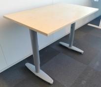 Sidebord til skrivebord 100x60cm i Kinnarps  T-serie, bjerk finer plate, grå ben, pent brukt