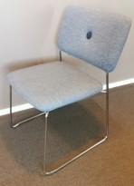 Konferansestol fra Blå Station, Dundra S70, Design: Borselius, lys gråblå/krom, pent brukt