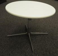 Lite loungebord fra Arper i hvitt / polert aluminium, Ginger Ø=65 H=50, Design: Jean-Marie Massaud, pent brukt