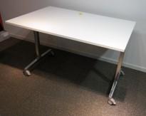 Konferansebord / klappbord i hvitt / krom fra RBM, 120x80cm, pent brukt