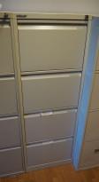 Bisley arkivskap i stål for hengemappe i lys grå, 5 skuffer, 47cm bredde, 132cm høyde, pent brukt