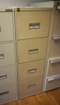 Arkivskap for hengemapper, lys grå, 4 skuffers, 42cm bredde, høyde 132cm, brukt