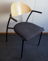 EFG Liisa konferansestol  i bjerk / koksgrått stoff, sittehøyde 43,5 cm, pent brukt