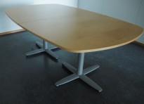 Møtebord i bjerk, Kinnarps T-serie, 200x120cm, passer 6-8personer, pent brukt