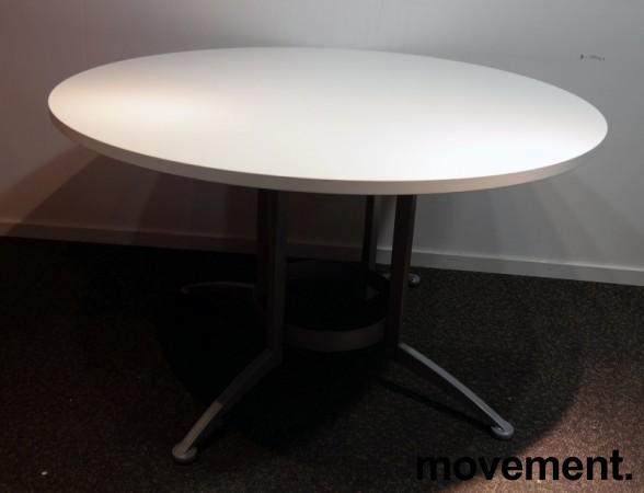 Rundt møtebord / konferansebord / kantinebord i hvitt / grått fra Kinnarps, modell Asto, Ø=120cm, pent brukt understell med ny plate bilde 1