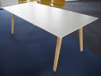 Møtebord / konferansebord i hvitt / ben i eik, 200x90cm, passer 6-8 personer, pent brukt