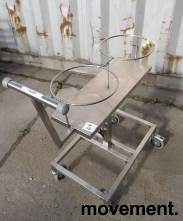 Oppvasktralle for storkjøkken / kantine i rustfritt stål, plass til bestikkbøtte og kantinebrett , pent brukt bilde 2