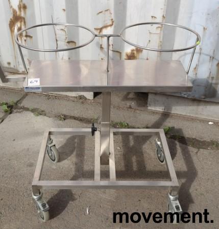 Oppvasktralle for storkjøkken / kantine i rustfritt stål, plass til bestikkbøtte og kantinebrett , pent brukt bilde 1