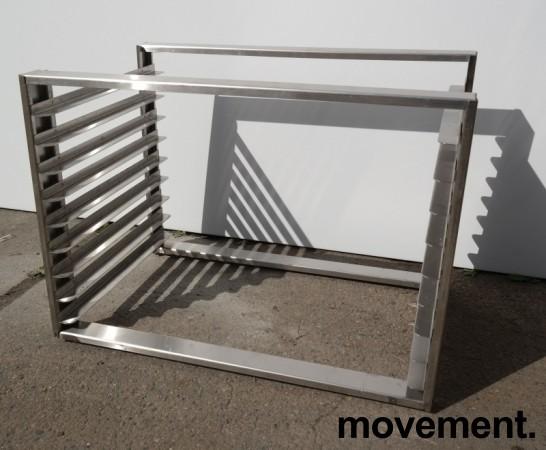 Hylle for stekebrett i rustfritt stål med 9 hyller, brettstørrelse 60x40cm, pent brukt bilde 1