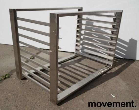 Hylle for stekebrett i rustfritt stål med 9 hyller, brettstørrelse 60x40cm, pent brukt bilde 2