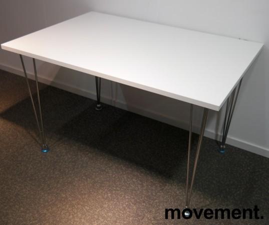 Skrivebord / kantinebord i hvitt med ben i krom, 120x80cm, pent brukt bilde 1