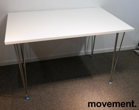 Skrivebord / kantinebord i hvitt med ben i krom, 120x80cm, pent brukt bilde 2