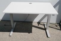 Skrivebord med elektrisk hevsenk i hvitt / grå fra Edsbyn, 120x80cm, pent brukt 2019-modell