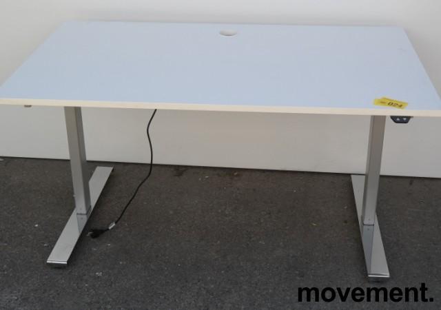Skrivebord med elektrisk hevsenk i hvitt / grå søyle / krom fot fra Linak, 140x80cm, pent brukt bilde 5