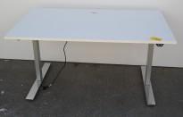 Skrivebord med elektrisk hevsenk i hvitt / grå søyle / krom fot fra Linak, 140x80cm, pent brukt
