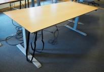 Skrivebord med elektrisk hevsenk i bøk / grått fra Linak, 180x80cm, pent brukt
