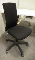 HÅG Futu kontorstol i sort stoff / sort mesh, pent brukt
