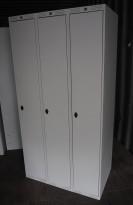 Garderobeskap i stål, 3 rom fra AJ produkter, 90cm bredde, brukt