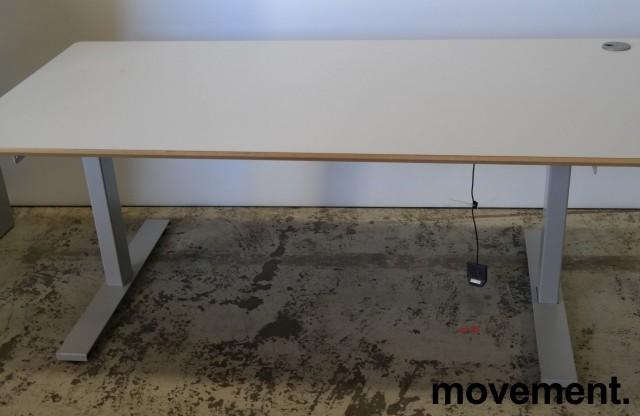 Skrivebord med elektrisk hevsenk i lys grå HPL fra Linak, 160x80cm, pent brukt bilde 1