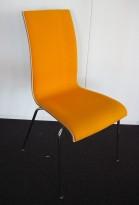 Konferansestol / stablestol i hvitt / gult stoff / krom, RBM Bella, pent brukt