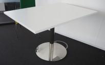 Kompakt møtebord / kantinebord  i hvitt / krom, 120x80cm, passer 4 personer, pent brukt