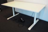 Skrivebord med elektrisk hevsenk i hvitt / hvitlakkert understell, 160x80cm, pent brukt understell med ny bordplate