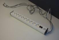 Strømfordeler / forgrener / skjøteledning fra IDT med 2 nettverkspunkter og 10 stk stikk, pent brukt