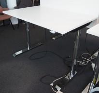 Skrivebord med elektrisk hevsenk i hvitt / krom, 120x80cm, pent brukt