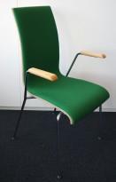 Konferansestol / stablestol i hvitt / grønt stoff / krom, armlene i bøk, RBM Bella, pent brukt